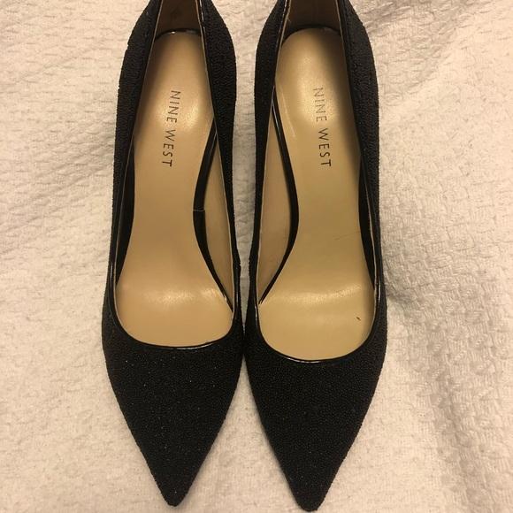 6a8ed2fa4f79 Elegant Nine West Martina Black Sparkle Heel